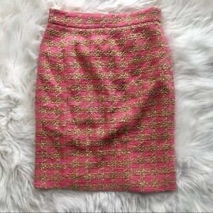 Valentino Red Tweed Pink & Gold Pencil Skirt